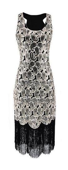 58e92c6c8a0 Women s 1920s Sequins Paisley Pattern Racer Back Flapper Fringe Gatsby  Party Dress