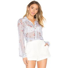 MAJORELLE Sussex Blouse (225 CAD) ❤ liked on Polyvore featuring tops, blouses, button ups, button front blouse, sheer button down blouse, white blouse, button blouse and sheer blouse