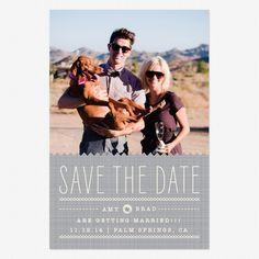 Stitched Save the Date Postcards www.lovevsdesign.com