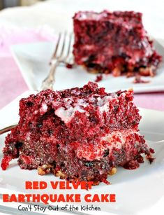 Red velvet cake is a classic dessert that's perfect for Christmas, Valentine's Day, or anytime! This Red Velvet Earthquake Cake combines two of the best cakes around - red velvet and earthquake cake - to make one irresistible dessert. Cute Desserts, Delicious Desserts, Vegan Desserts, Cake Mix Recipes, Dessert Recipes, Top Recipes, Dessert Ideas, Earthquake Cake Recipes, Red Velvet Recipes