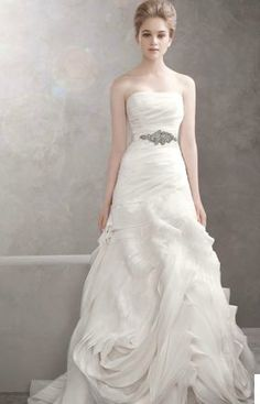 Organza Fit and Flare Gown with Bias Flange Skirt