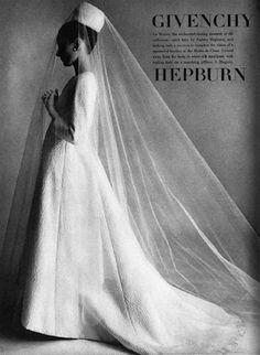 """Audrey Hepburn modeling Givenchy, in Vogue US, November 1964 for the fashion editorial: """"Givenchy."""" Photographed by Irving The Givenchy wedding dress is of white silk matelassé with a stunning veil. Audrey Hepburn Givenchy, Audrey Hepburn Wedding Dress, Style Audrey Hepburn, Aubrey Hepburn, Vogue Wedding, Vintage Bridal, Vintage Veils, Mode Vintage, Olivia Palermo"""