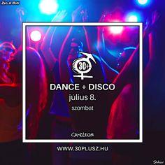 A megszokott 30+ Buli hangulattal várunk most szombaton is! Zenék a '90-es évektől napjainkig. Igazi Disco hangulat, amelybe lemezlovasunk belecsempészi a modern ritmusokat is.