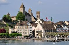Harbour Area in Rapperswil, Switzerland jigsaw puzzle in Street View puzzles on… Free Online Jigsaw Puzzles, Puzzle Of The Day, Switzerland, Holland, Castle, Street View, Mansions, House Styles, City