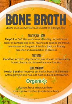 Do you make bone broth at home? Bone broth is delicious to drink by itself or use it as a soup base. But did you know that it has numerous healing benefits? From eating bone marrow: it improves gut health, boosts the immune system, for glowing skin, hair, Bone Marrow Broth, Bone Broth Soup, Gelatin Collagen, Making Bone Broth, Improve Gut Health, Soup Recipes, Healthy Recipes, Healthy Soup, Healthy Life