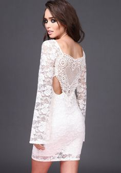White Lace and Crochet Bell Sleeve Dress #lace #sleeves #crochet #white #boho #festival #dress #spring #newarrivals #boutiqueculture #loveculture