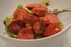 Shaved Brussels Sprouts Salad + Andouille Sausage - peace. love. & good food.