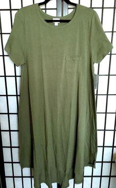 LuLaRoe CARLY Dress XL Green Solid NWT #LuLaRoe #AsymmetricalHem #Casual