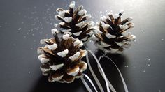 3 White Snow Covered Pine Cones- Hand Painted- Glitter- Tree Ornaments- Forest- Woodland- Christmas- Holiday- CassieVision by CassieVision on Etsy
