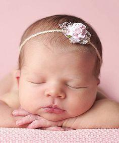 Look what I found on #zulily! Pink Flower Tie-Back Headband #zulilyfinds