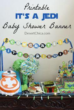 Printable Jedi Baby Shower Banner. Star Wars ...