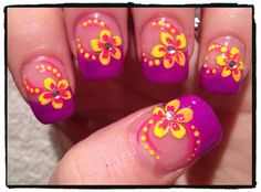 Tropical Flower and Dotted Swirls Nail Art with rhinestones Tropical Flower Nails, Tropical Nail Designs, Nail Art Designs, Fingernail Designs, Fabulous Nails, Perfect Nails, Fancy Nails, Pretty Nails, Hair And Nails