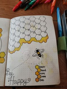 honey bee mood tracker - honey bee mood tracker bullet journal The Effective Pictures We Offer You About diy furniture A qu - Bullet Journal Tracker, Bullet Journal Headers, Bullet Journal Banner, Bullet Journal Aesthetic, Bullet Journal Notebook, Bullet Journal School, Bullet Journal Themes, Bullet Journal Inspo, Bullet Journal Layout