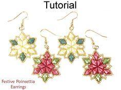 Beaded Poinsettia Christmas Holiday Earrings with DiamonDuo Two Hole Beads Jewelry Making Pattern Tutorial by Simple Bead Patterns | Simple Bead Patterns