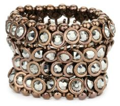"""Leslie Danzis Chocolate and Hematite-Color Disc Stretch Bracelet 1.5"""" Leslie Danzis. $47.99. Made in China. Stretch band, fits wrist sizes 6-9"""". Fire-polished faceted glass beads. Save 47% Off!"""