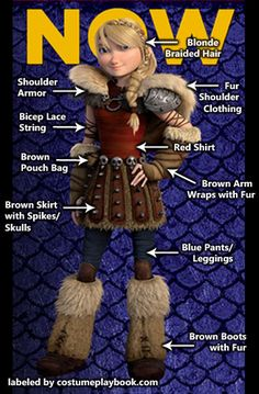 "Costume guide for Astrid of the second movie of ""How To Train your Dragon""!"