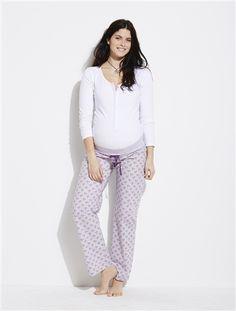 Pyjama coton stretch grossesse et allaitement BLANC FLEURS+LILAS RAYE - vertbaudet enfant