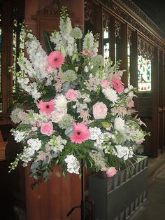 Country Garden Wedding Church Pedestal Arrangement