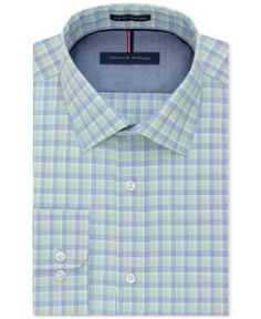 Tommy Hilfiger Men's Slim-Fit Non-Iron Check Dress Shirt - Green 17.5 32/33