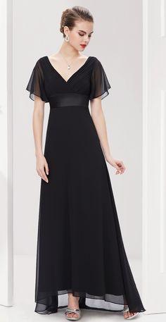 V-Neck Ruffles Padded Evening Dress  #everpretty #black #vneck #eveningdress