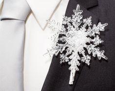 Crystal Snowflake Bridesmaid Bouquet Winter by BridalBouquetsbyKy