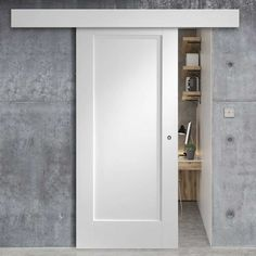 Thruslide Surface Pattern 10 Style - Sliding Door and Track Kit - White Primed The Effective Pictures We Offer You About sliding doors drawing A quality picture can tell you many things. Sliding Bathroom Doors, Internal Sliding Doors, Sliding Door Design, Modern Sliding Doors, Sliding Door Systems, Sliding Door Panels, Hanging Sliding Doors, Sliding Cupboard, Bathroom Barn Door