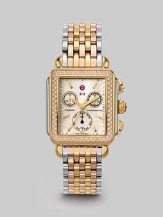 $2,395 Michele Watches - Deco Tricolor Diamond Chronograph Bracelet Watch - Saks.com
