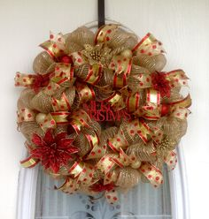 """22"""" Burlap/Gold Deco Mesh Christmas Wreath with Red & Gold Glitter Poinsettias, Ornaments, Ribbons & Red Glitter Merry Christmas Sign"""