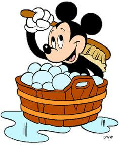 Mickey's enjoying his bubble bath getting squeaky clean.
