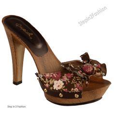 wooden high heel slides | New Womens Brown High Heel Cute Casual Dress Slides Sandals Shoe Size ...
