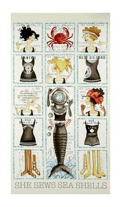 Cream Letter Stitch Alphabet J Wecker Frisch Quilting Treasures Fabric Panel