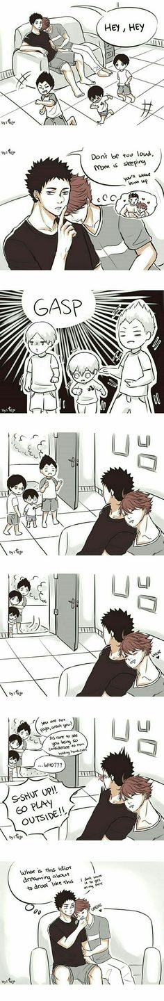 Adorable Kageyama Tobio with mama oikawa and papa iwaizumi || Iwaoi comics || Haikyuu