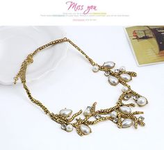 Classic Bronze Pearl Decorated Waterdrop Shape Design Alloy Korean Necklaces ,Korean Necklaces