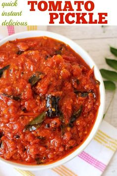 Best Tomato Recipes Tomato pickle recipe, an instant, tasty, best ever tomato pachadi Andhra style Veg Recipes, Indian Food Recipes, Vegetarian Recipes, Cooking Recipes, Ethnic Recipes, Paneer Recipes, Curry Recipes, Easy Cooking, Sauces
