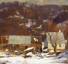 "Daniel Garber ""Late Snow-Byram"", Oil on canvas. H. Gift of Marguerite and Gerry Lenfest. Impressionist Landscape, Impressionist Paintings, Landscape Paintings, Landscape Art, Oil Paintings, Matt Smith, Michener Art Museum, Hope Art, Winter Art"
