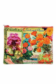 """Stop all that digging around; the perfect solution to organize your bigger bag Great for cosmetics, power cords, pencils, coupons, receipts and more Made from 95% post-consumer recycled material; waterproof and easy to clean Features a chunky, color-coordinated zipper;    Dimensions 9.5"""" x 7.25""""   Flower Zipper Pouch by Blue Q. Bags Santa Monica, Los Angeles, California"""