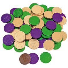 These Mardi Gras Chocolate Coins will add some Louisiana spirit to your Mardi Gras parade or party! These green, gold and purple candy chocolate coins. Mardi Gras Centerpieces, Mardi Gras Decorations, 30th Birthday, Birthday Parties, Teen Parties, Purple Candy, Mardi Gras Parade, Chocolate Coins, Mystery Parties