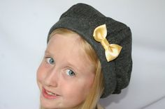 Black & Gray Chevron Beret w/ Gold Flecks, Lined w/ Grey Fleece, Yellow Bow, ready to ship
