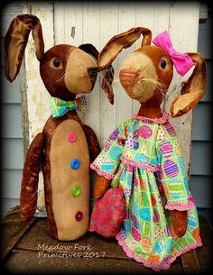 Primitive Folk Art Easter Rabbit Couple--Ozzie & April-OOAK-Stump Doll-Spring-Bunny-Farmhouse-Vintage-Art Dolls-Faap, Hafair Team by MeadowForkPrims on Etsy