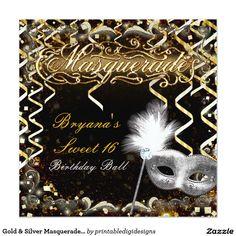 Gold & Silver Masquerade Mask Birthday Party Card