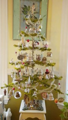 antique Feather tree with original ornaments
