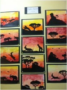 5th grade art - watercolor sunsets.