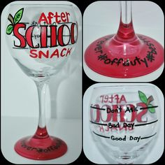 This is one of our bubble size glasses, great for red or white wine. I created this one for those hard working teachers who need a break after a long day of work. These glasses would make great gifts for friends, family or even gifts for staff! They are a great addition to any end of the year gift basket, and pair well with an LCBO gift card! Because after all, teachers can't live on apples alone!