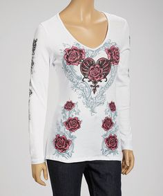 Take a look at this White and Pink Long Sleeve Top by Liberty Wear on #zulily today!25