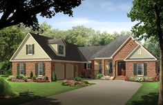 House Plan 59215 | Country European Traditional Plan with 2500 Sq. Ft., 4 Bedrooms, 3 Bathrooms, 2 Car Garage