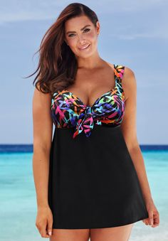Plus Size Longitude Tie Front Swimdress Plus Size Tankini, Plus Size Swimsuits, Look Plus Size, Plus Size Women, Elegante Y Chic, Summer Outfits, Cute Outfits, Swim Dress, Beachwear
