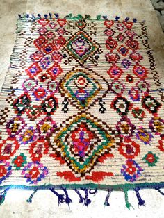 Love the loose colorfulness of this Vintage Moroccan rug  Boucherouite by BazaarLiving on Etsy, £210.00 #boho #colorful #rug