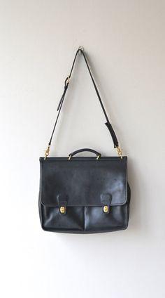 Ellson attache black leather messenger vintage by DearGolden