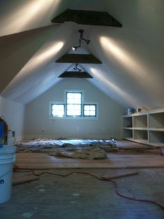 Bonus Room.. - lights, shelves on one side.