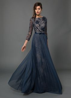 Tulle and Lace 3/4 Sleeve Circle Skirt Gown and Grosgrain Ribbon Bow Belt in Dusty Navy | Tadashi Shoji